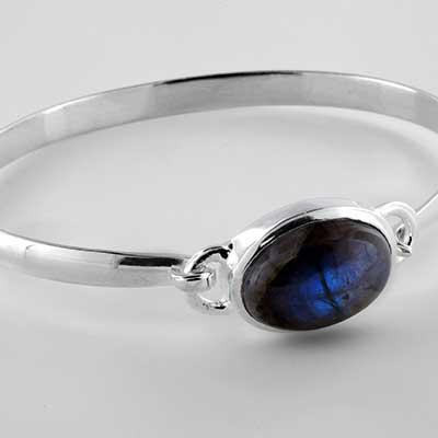 Silver and labradorite bracelet