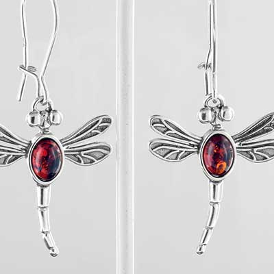 Silver and amber dragonfly earrings
