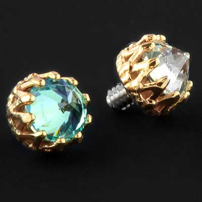 Internally Threaded 18k Gold King End with Reversed Gem