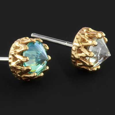 18k gold King threadless end with reversed gem