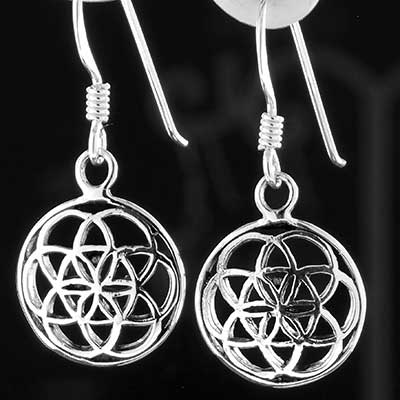 Silver circle flower of life earrings