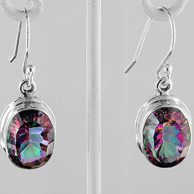 Silver and mystic topaz earrings