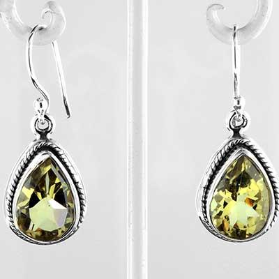 Silver and lemon topaz earrings