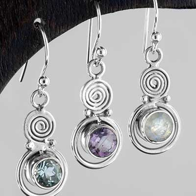 Silver ornate circles earrings