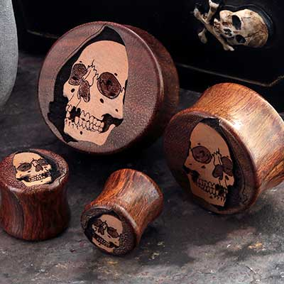 Chechen Wood Cloaked Skull Plugs