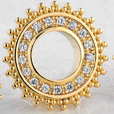 Gold beaded gem eyelet