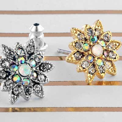Opal Chrysanthemum Flower Earrings