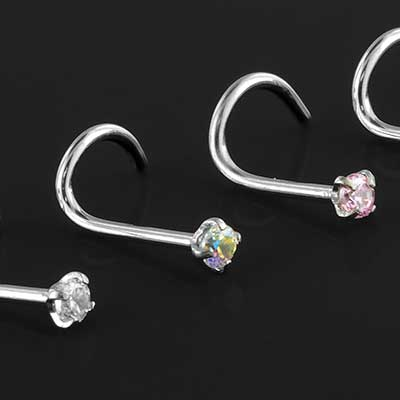 Steel prong set gem nosescrew