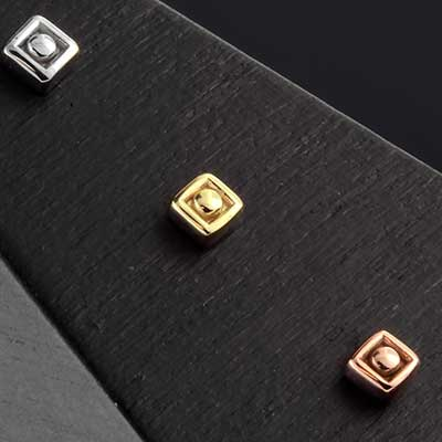 14k Gold Square Dot Threadless End