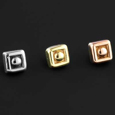 14k Gold Square Dot Threaded End