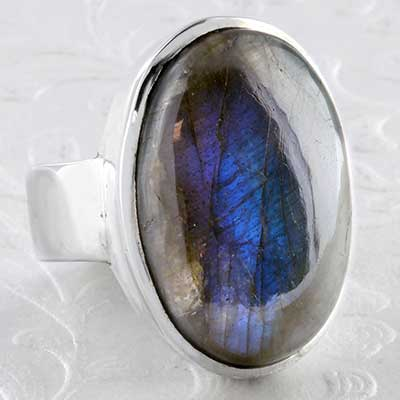 Silver and labradorite ring