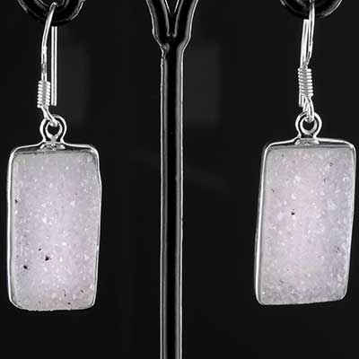 Silver and druzy earrings
