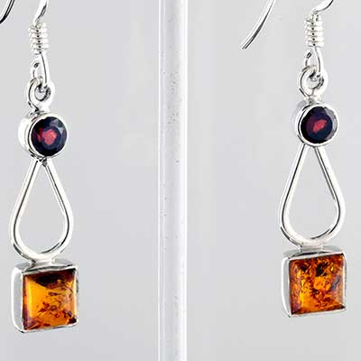 Silver and Baltic amber earrings
