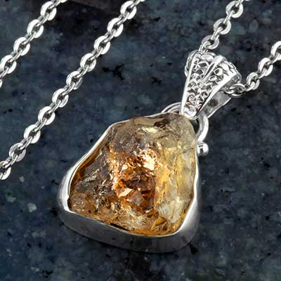 Rough citrine and silver necklace