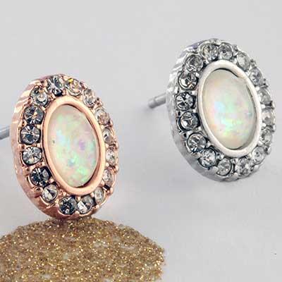 Opal Oval Earrings