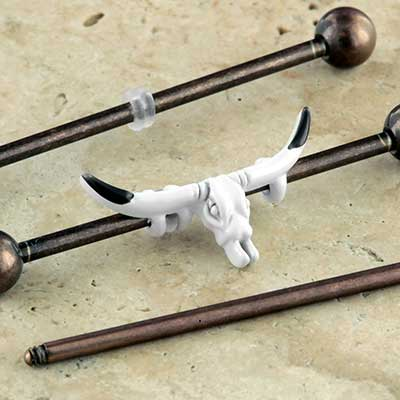 Longhorn skull industrial barbell set
