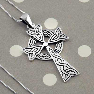 Silver Celtic cross necklace