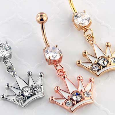 Gemmed Crown Dangle Navel