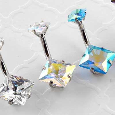 Faceted square gem navel