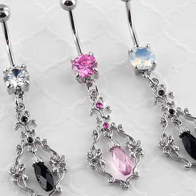 Filigree Crystal Dangle Navel
