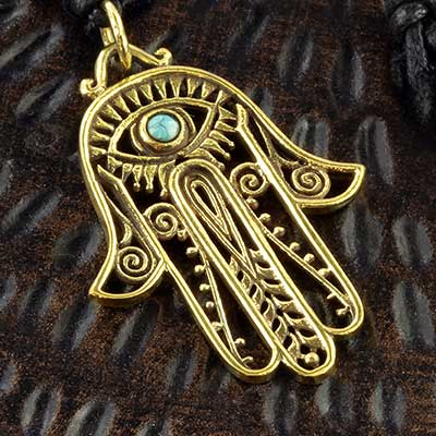 Brass Hamsa and leather necklace