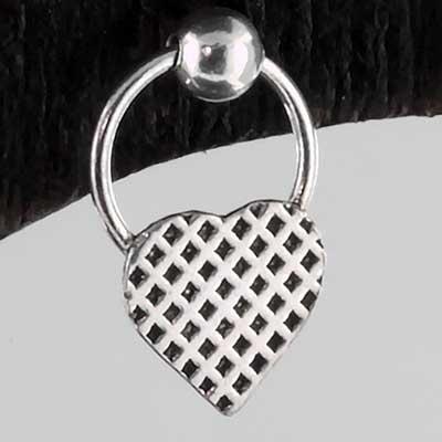 Silver woven heart earrings