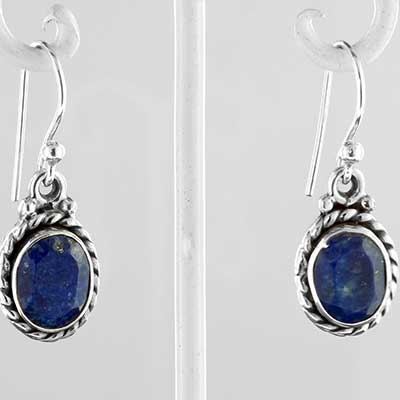 Silver and faceted lapis earrings