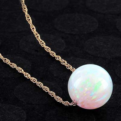 Synthetic light blue opal necklace