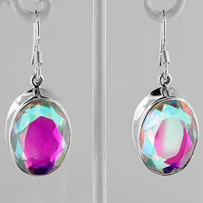 Silver and mystic opal earrings