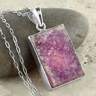 Purple druzy and silver necklace
