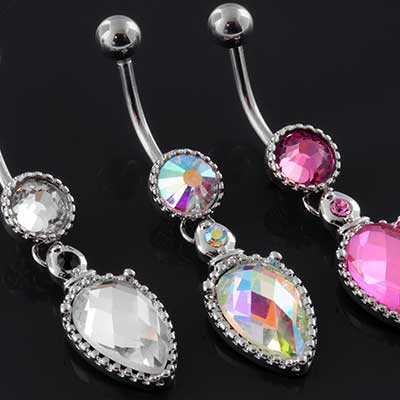 Faceted Teardrop CZ Dangle Navel