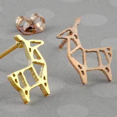 Geometric deer earrings