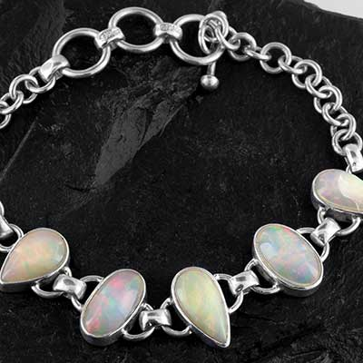 Sterling silver and genuine opal bracelet