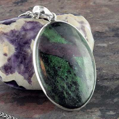 Ruby in Zoisite and silver necklace