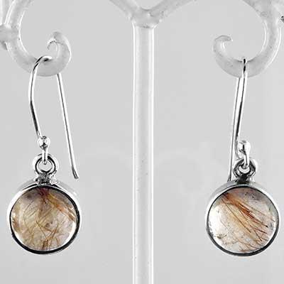 Silver and rutilated quartz earrings