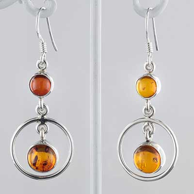 Silver and Baltic amber circle earrings