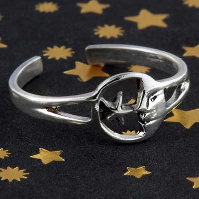 Silver moon and star toe ring
