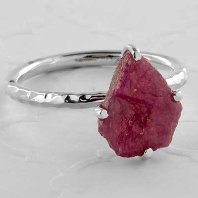 Silver and rough rhodonite ring
