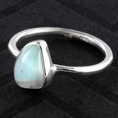 Silver and larimar ring