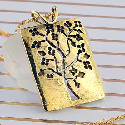 Brass blossom tree necklace