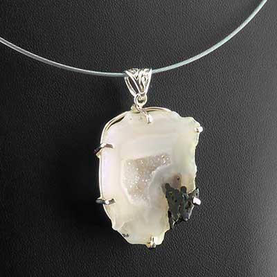 Geode druzy and silver necklace