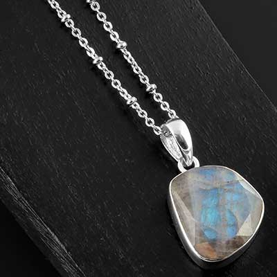 Faceted labradorite and silver necklace