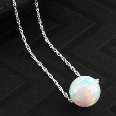Synthetic white opal and silver necklace