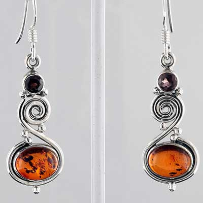 Silver and amber with garnet earrings