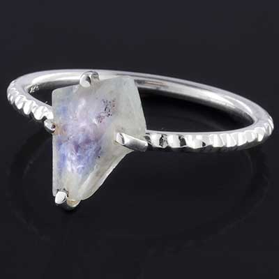 Silver and rough moonstone ring