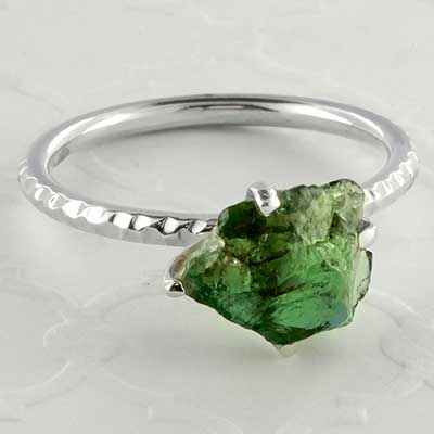 Silver and rough apetite ring