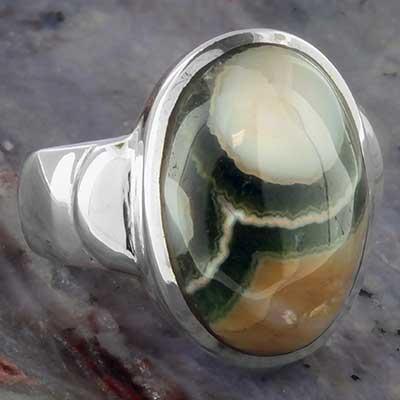Silver and ocean jasper ring
