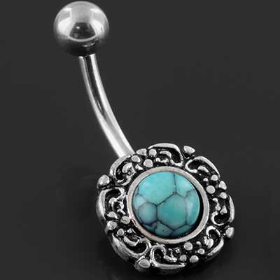 Vintage navel with synthetic turquoise