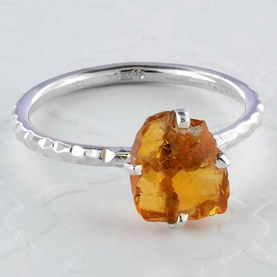 Silver and rough citrine ring