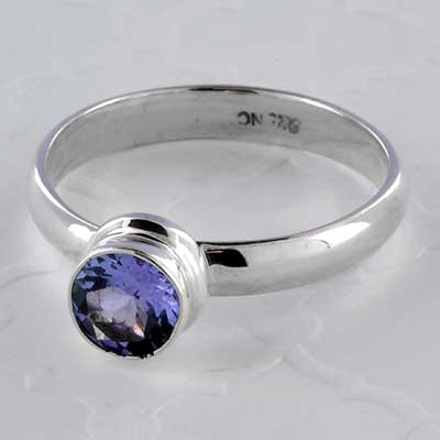 Silver and tanzanite ring